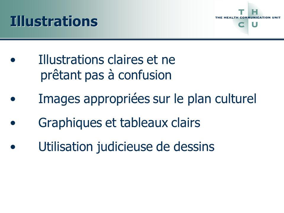 Illustrations Illustrations claires et ne prêtant pas à confusion Images appropriées sur le plan culturel Graphiques et tableaux clairs Utilisation ju