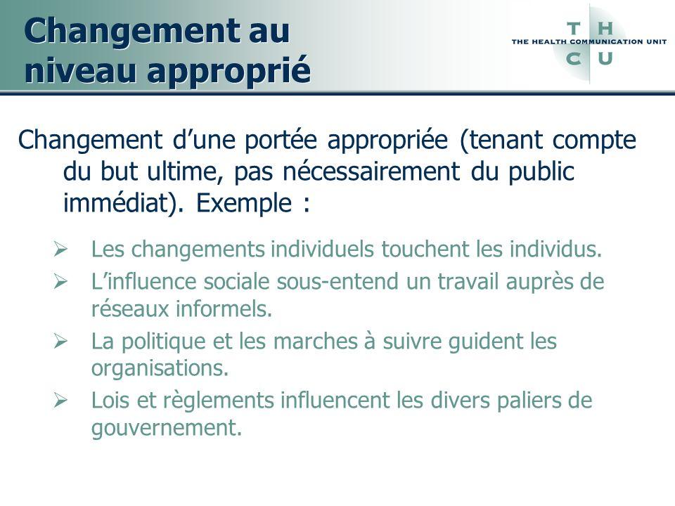 Changement au niveau approprié Changement dune portée appropriée (tenant compte du but ultime, pas nécessairement du public immédiat). Exemple : Les c