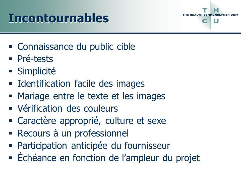 Incontournables Connaissance du public cible Pré-tests Simplicité Identification facile des images Mariage entre le texte et les images Vérification d