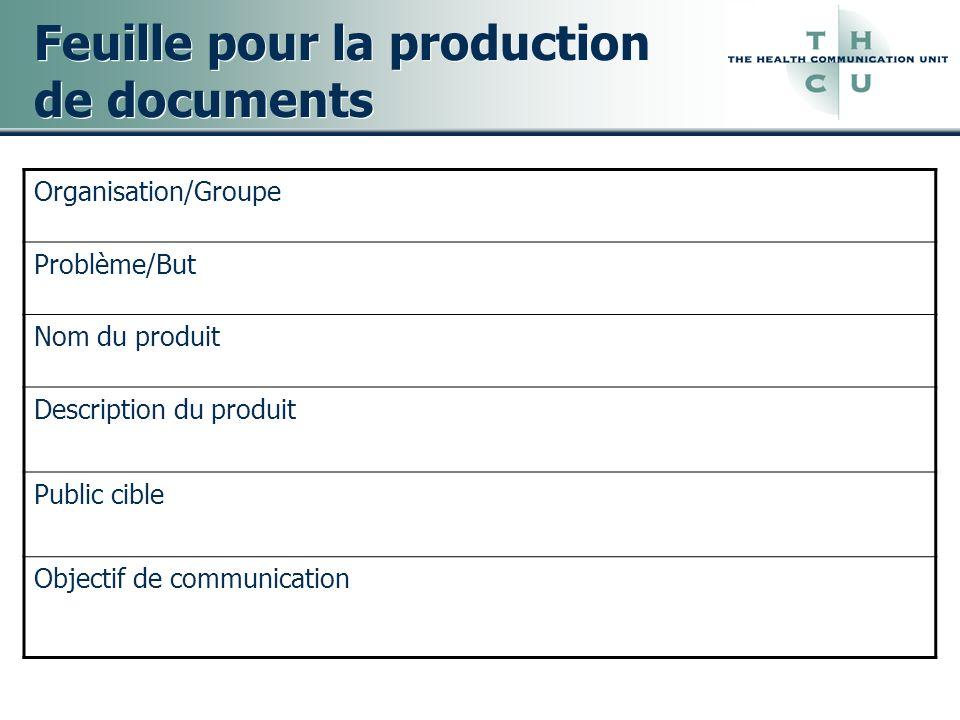 Feuille pour la production de documents Organisation/Groupe Problème/But Nom du produit Description du produit Public cible Objectif de communication