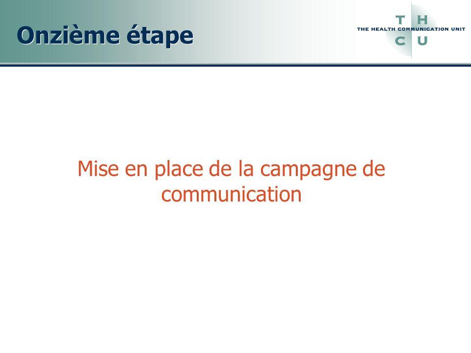 Onzième étape Mise en place de la campagne de communication