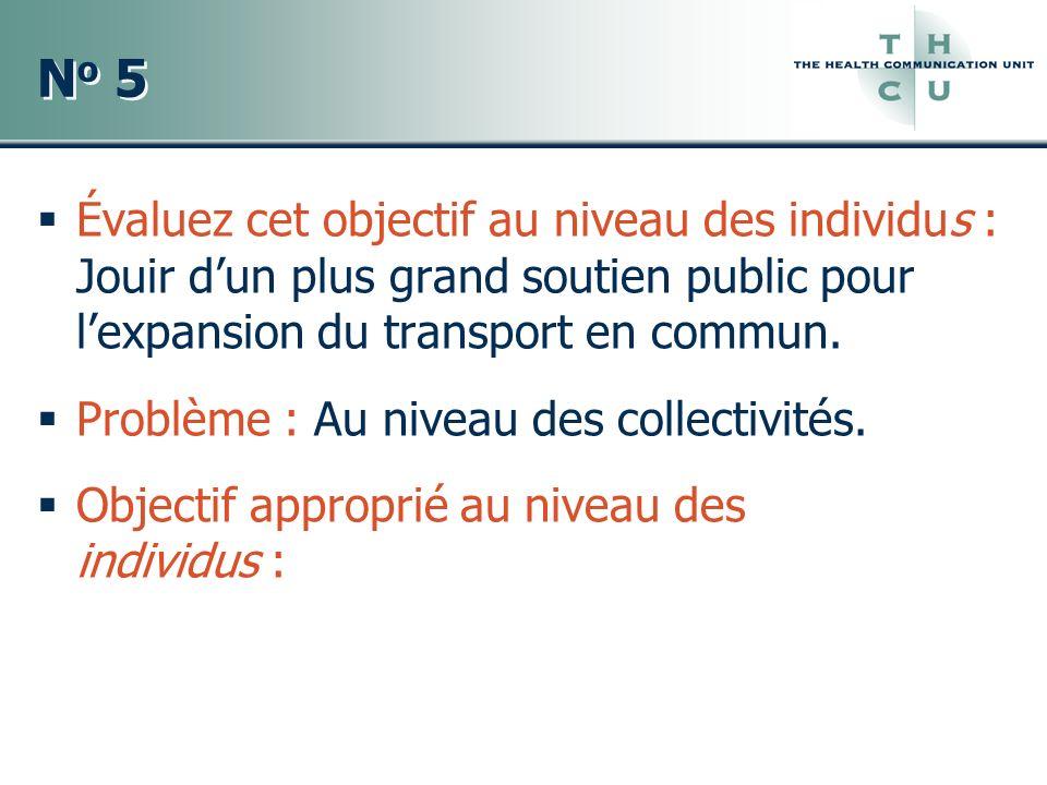 No 5No 5 No 5No 5 Évaluez cet objectif au niveau des individus : Jouir dun plus grand soutien public pour lexpansion du transport en commun. Problème