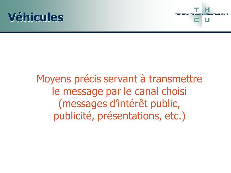 Véhicules Moyens précis servant à transmettre le message par le canal choisi (messages dintérêt public, publicité, présentations, etc.)