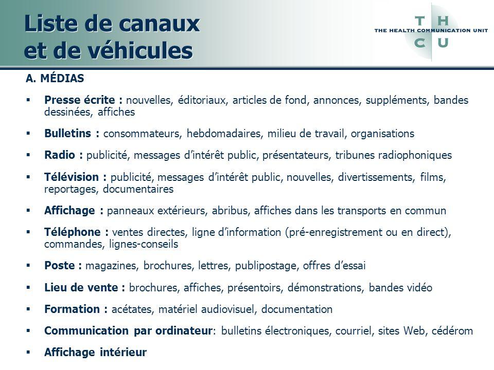 Liste de canaux et de véhicules A. MÉDIAS Presse écrite : nouvelles, éditoriaux, articles de fond, annonces, suppléments, bandes dessinées, affiches B