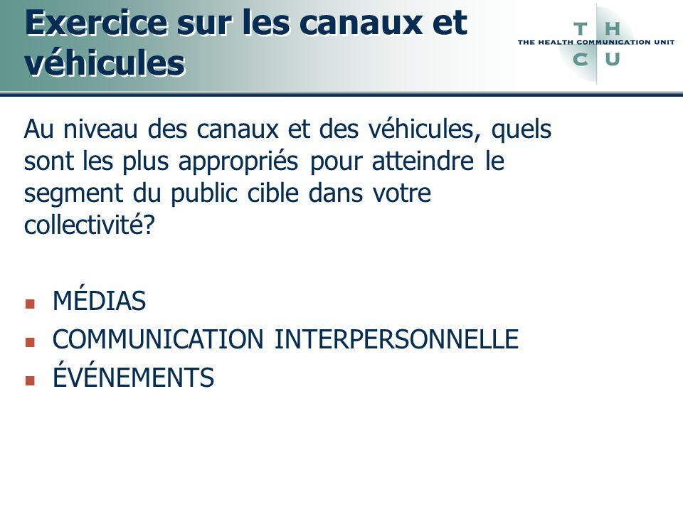 Exercice sur les canaux et véhicules Au niveau des canaux et des véhicules, quels sont les plus appropriés pour atteindre le segment du public cible d