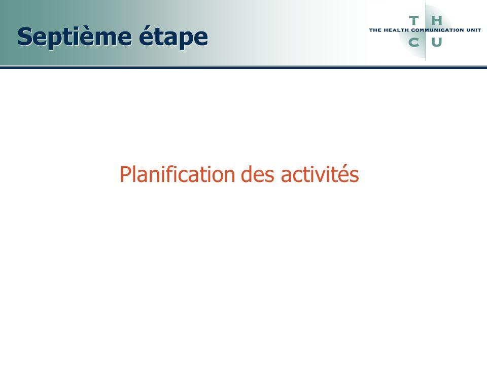 Septième étape Planification des activités