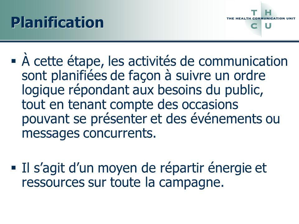 Planification À cette étape, les activités de communication sont planifiées de façon à suivre un ordre logique répondant aux besoins du public, tout e