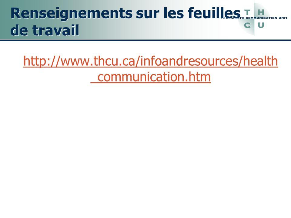 Renseignements sur les feuilles de travail http://www.thcu.ca/infoandresources/health _communication.htm