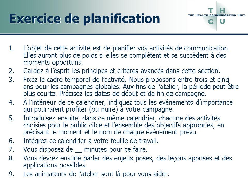Exercice de planification 1.Lobjet de cette activité est de planifier vos activités de communication. Elles auront plus de poids si elles se complèten