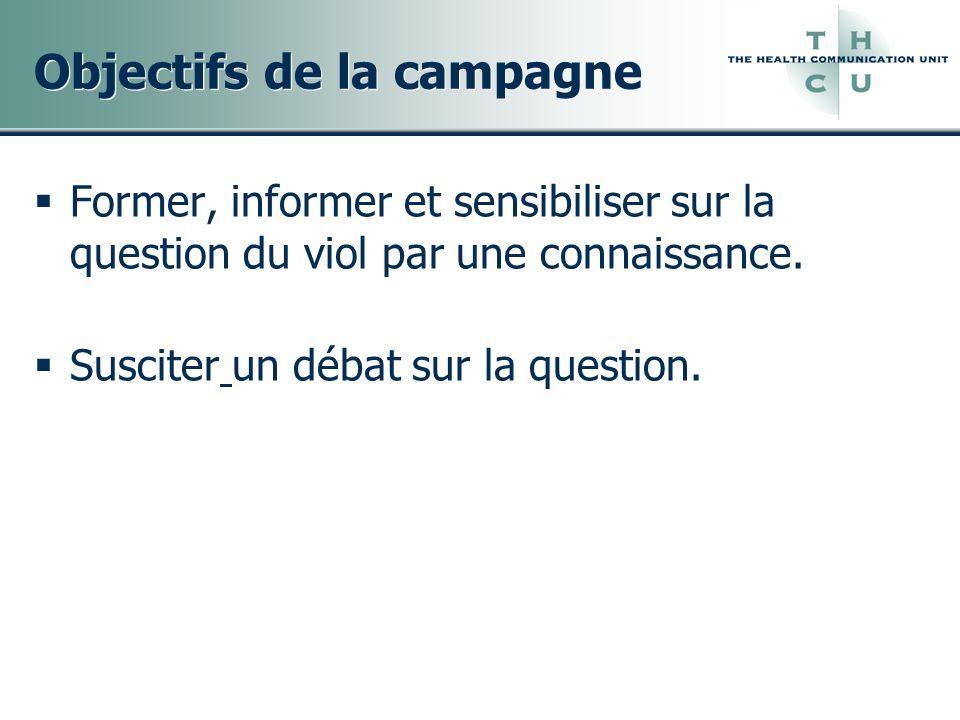 Objectifs de la campagne Former, informer et sensibiliser sur la question du viol par une connaissance. Susciter un débat sur la question.