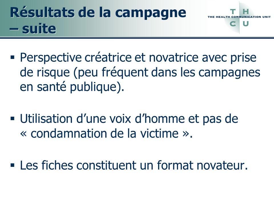 Résultats de la campagne – suite Perspective créatrice et novatrice avec prise de risque (peu fréquent dans les campagnes en santé publique). Utilisat