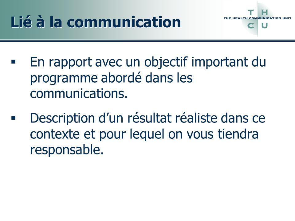 Lié à la communication En rapport avec un objectif important du programme abordé dans les communications. Description dun résultat réaliste dans ce co