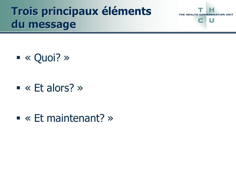 Trois principaux éléments du message « Quoi? » « Et alors? » « Et maintenant? »
