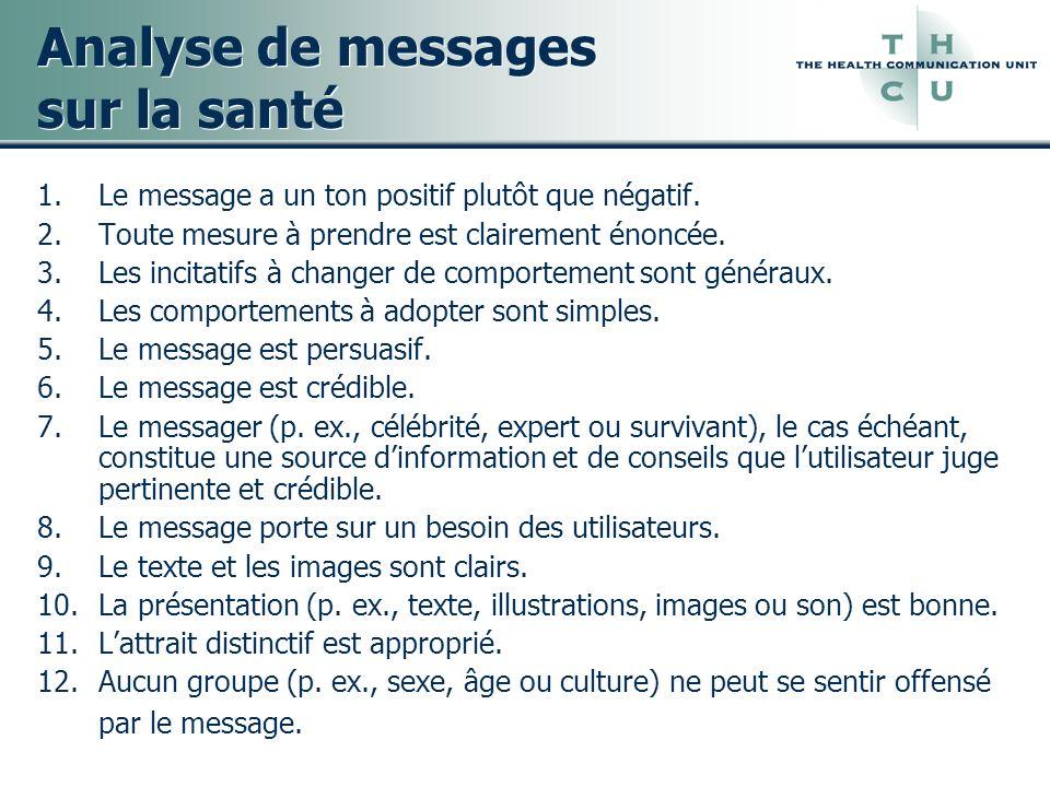 Analyse de messages sur la santé 1.Le message a un ton positif plutôt que négatif. 2.Toute mesure à prendre est clairement énoncée. 3.Les incitatifs à