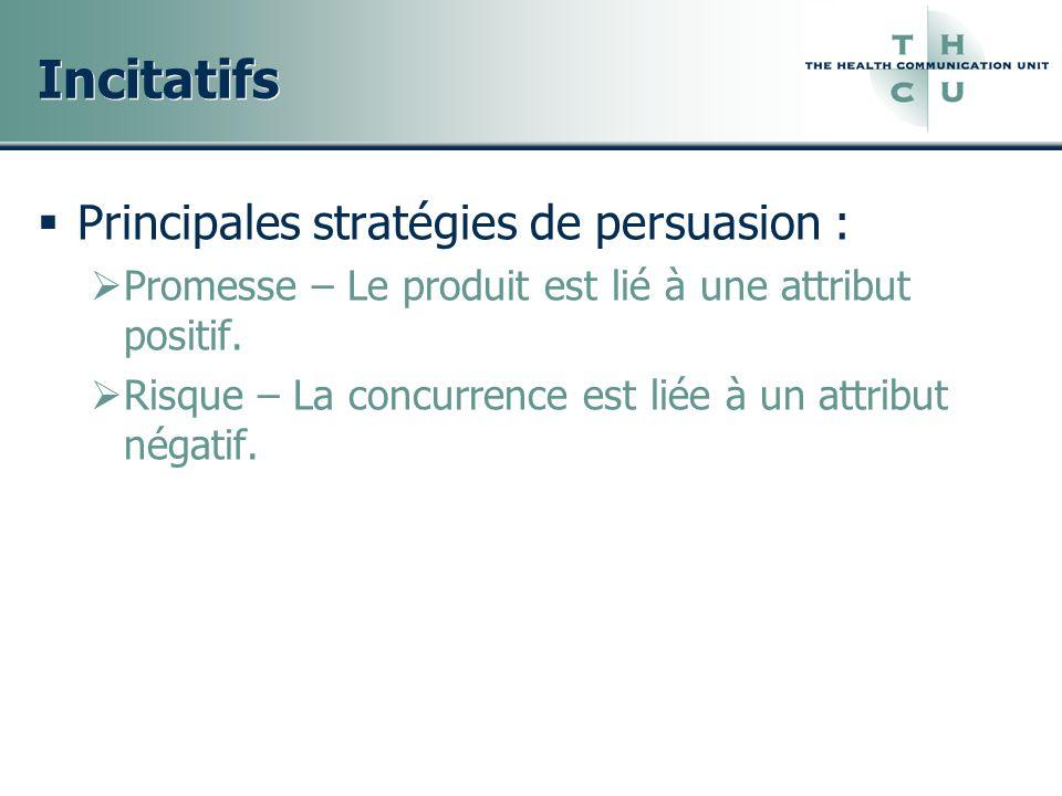 Incitatifs Principales stratégies de persuasion : Promesse – Le produit est lié à une attribut positif. Risque – La concurrence est liée à un attribut