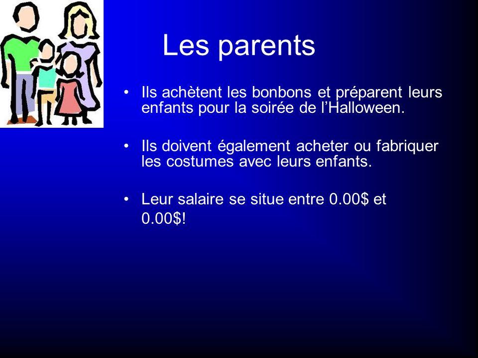 Les parents Ils achètent les bonbons et préparent leurs enfants pour la soirée de lHalloween. Ils doivent également acheter ou fabriquer les costumes