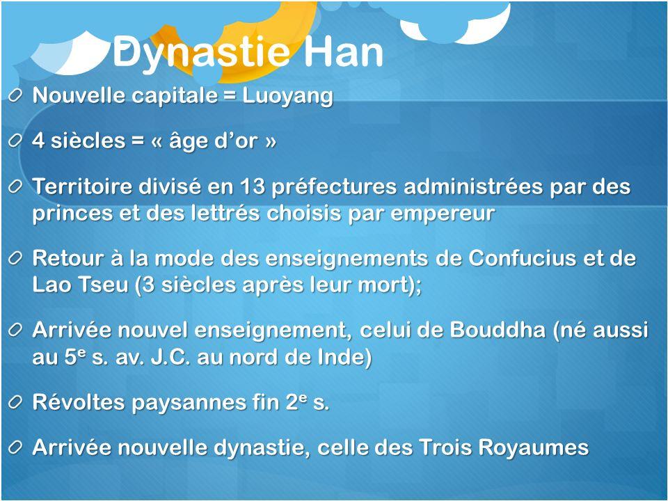 Dynastie Han Nouvelle capitale = Luoyang 4 siècles = « âge dor » Territoire divisé en 13 préfectures administrées par des princes et des lettrés chois