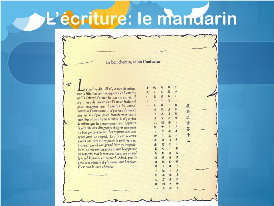 Le mandarin (le chinois) Depuis 1400 av.J.C.