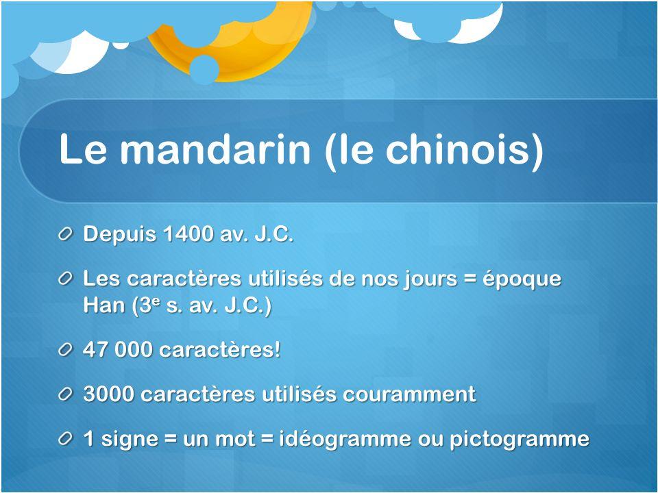 Le mandarin (le chinois) Depuis 1400 av. J.C. Les caractères utilisés de nos jours = époque Han (3 e s. av. J.C.) 47 000 caractères! 3000 caractères u