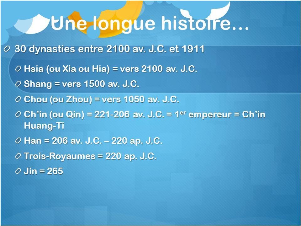 Une longue histoire… 30 dynasties entre 2100 av. J.C. et 1911 Hsia (ou Xia ou Hia) = vers 2100 av. J.C. Shang = vers 1500 av. J.C. Chou (ou Zhou) = ve
