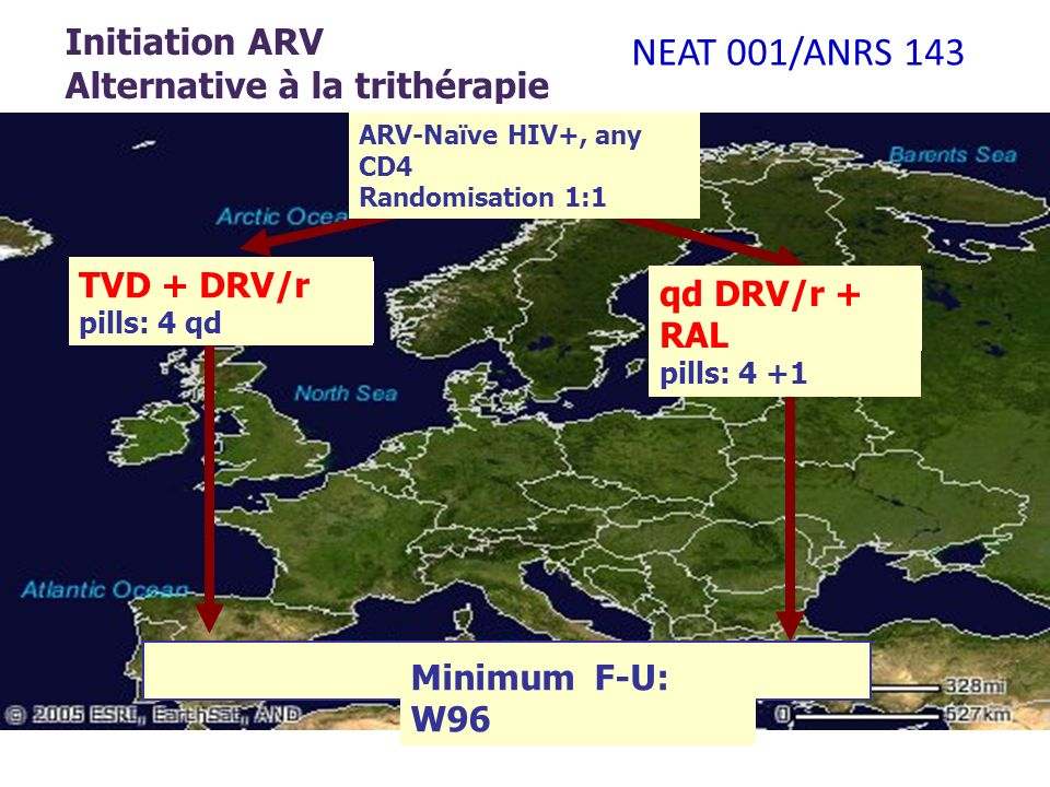 Initiation ARV Alternative à la trithérapie ARV-Naïve HIV+, any CD4 Randomisation 1:1 qd DRV/r + RAL pills: 4 +1 Minimum F-U: W96 TVD + DRV/r pills: 4