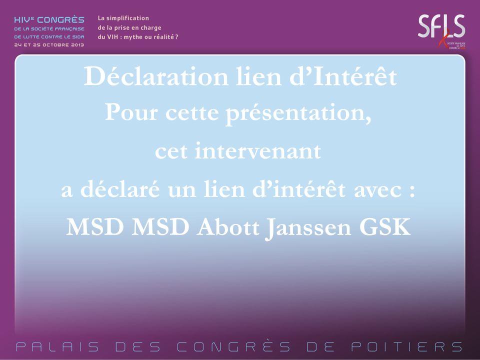 Pour cette présentation, cet intervenant a déclaré un lien dintérêt avec : MSD MSD Abott Janssen GSK Déclaration lien dIntérêt