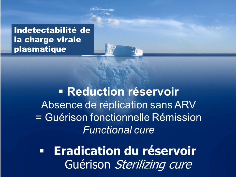Reduction réservoir Absence de réplication sans ARV = Guérison fonctionnelle Rémission Functional cure Indetectabilité de la charge virale plasmatique