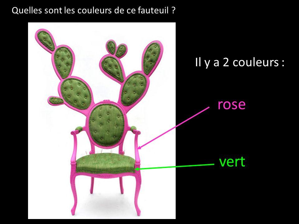 Quelles sont les couleurs de ce fauteuil ? Il y a 2 couleurs : rose vert