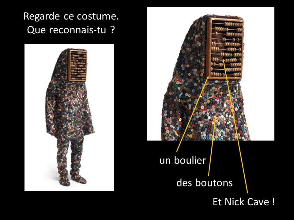 Regarde ce costume. Que reconnais-tu ? un boulier des boutons Et Nick Cave !
