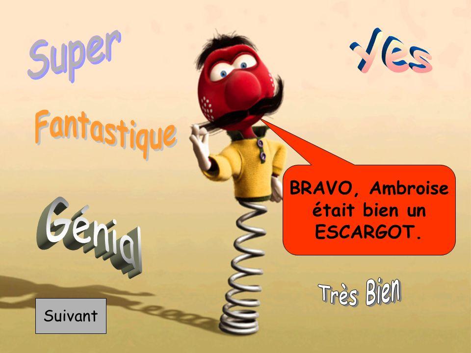 BRAVO, Ambroise était bien un ESCARGOT. Suivant