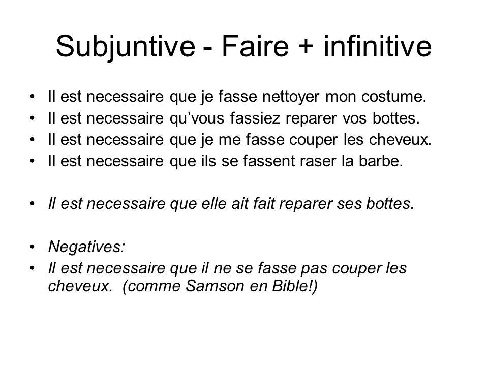 Subjuntive - Faire + infinitive Il est necessaire que je fasse nettoyer mon costume.