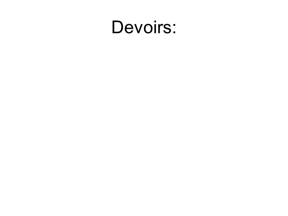 Devoirs: