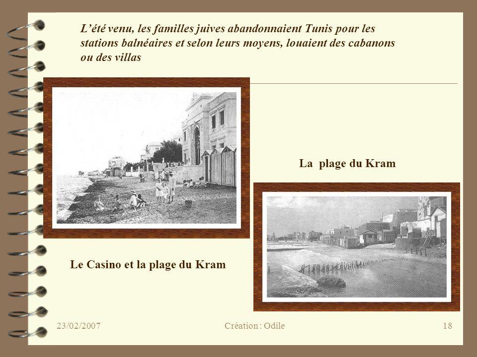 18 Le Casino et la plage du Kram La plage du Kram Lété venu, les familles juives abandonnaient Tunis pour les stations balnéaires et selon leurs moyen