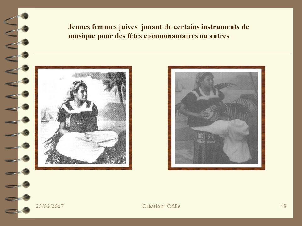 48 Jeunes femmes juives jouant de certains instruments de musique pour des fêtes communautaires ou autres Création : Odile23/02/2007