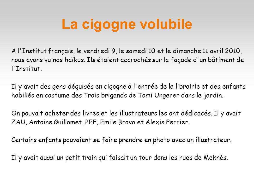 La cigogne volubile A l'Institut français, le vendredi 9, le samedi 10 et le dimanche 11 avril 2010, nous avons vu nos haïkus. Ils étaient accrochés s