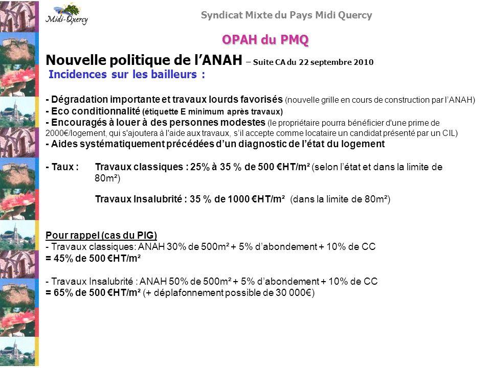 Syndicat Mixte du Pays Midi Quercy Nouvelle politique de lANAH – Suite CA du 22 septembre 2010 Incidences sur les bailleurs : - Dégradation importante