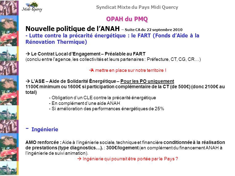 Syndicat Mixte du Pays Midi Quercy Nouvelle politique de lANAH – Suite CA du 22 septembre 2010 - Lutte contre la précarité énergétique : le FART (Fond