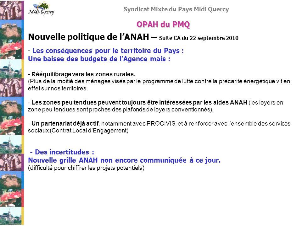 Syndicat Mixte du Pays Midi Quercy Nouvelle politique de lANAH – Suite CA du 22 septembre 2010 - Les conséquences pour le territoire du Pays : Une bai