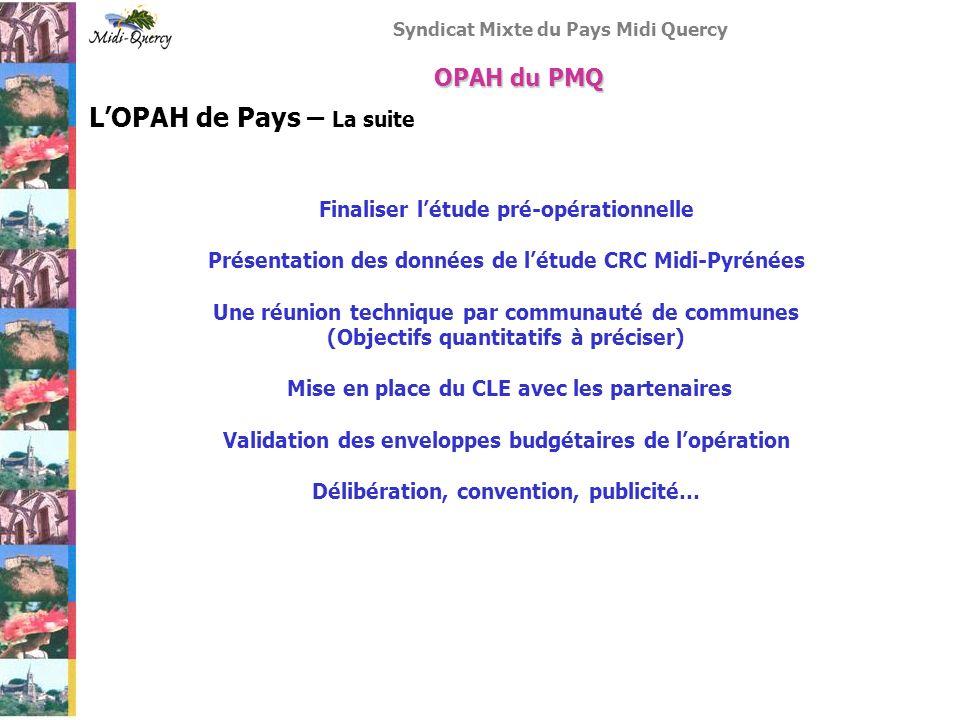 Syndicat Mixte du Pays Midi Quercy LOPAH de Pays – La suite Finaliser létude pré-opérationnelle Présentation des données de létude CRC Midi-Pyrénées U