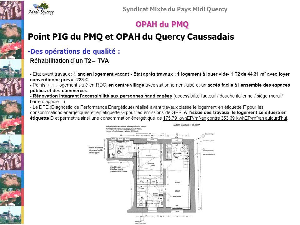 Syndicat Mixte du Pays Midi Quercy Point PIG du PMQ et OPAH du Quercy Caussadais -Des opérations de qualité : OPAH du PMQ Réhabilitation dun T2 – TVA