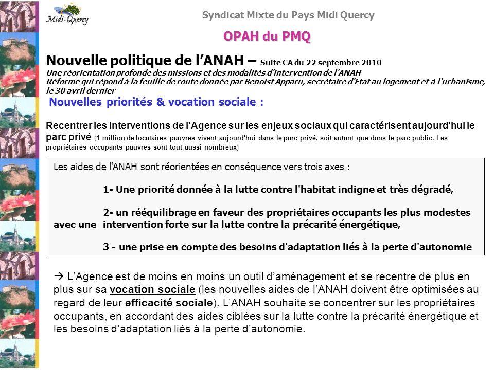 Syndicat Mixte du Pays Midi Quercy Nouvelle politique de lANAH – Suite CA du 22 septembre 2010 Une réorientation profonde des missions et des modalité