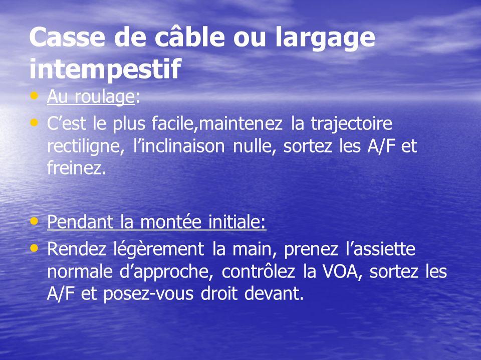 Casse de câble ou largage intempestif Au roulage: Cest le plus facile,maintenez la trajectoire rectiligne, linclinaison nulle, sortez les A/F et frein