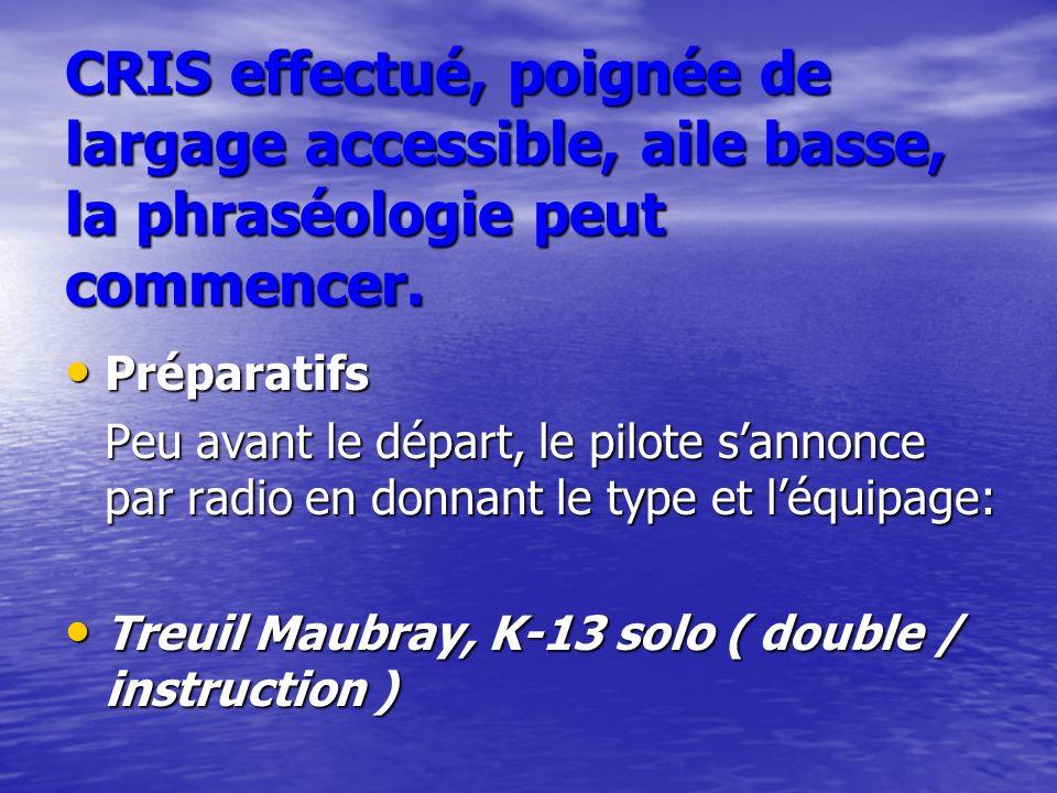Préparatifs Préparatifs Peu avant le départ, le pilote sannonce par radio en donnant le type et léquipage: Treuil Maubray, K-13 solo ( double / instru