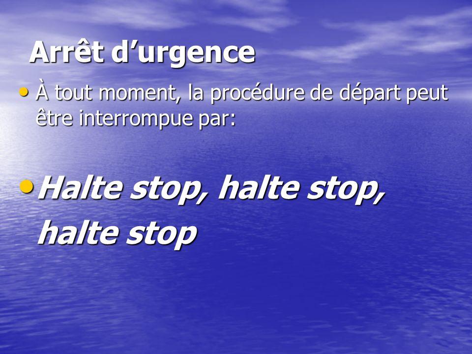 À tout moment, la procédure de départ peut être interrompue par: À tout moment, la procédure de départ peut être interrompue par: Halte stop, halte st