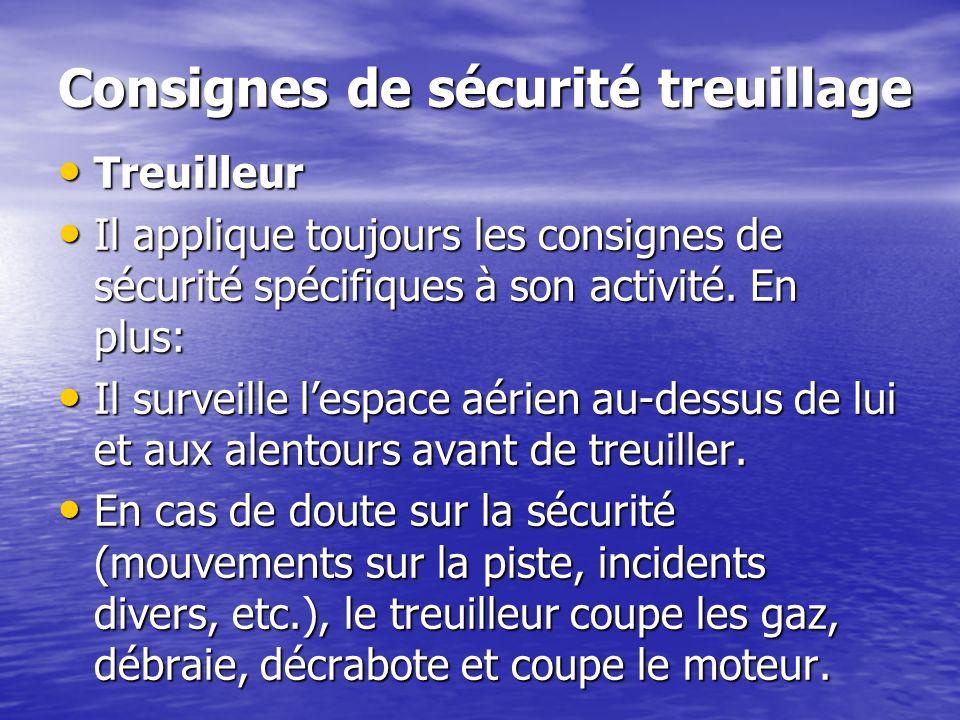 Consignes de sécurité treuillage Treuilleur Treuilleur Il applique toujours les consignes de sécurité spécifiques à son activité. En plus: Il applique