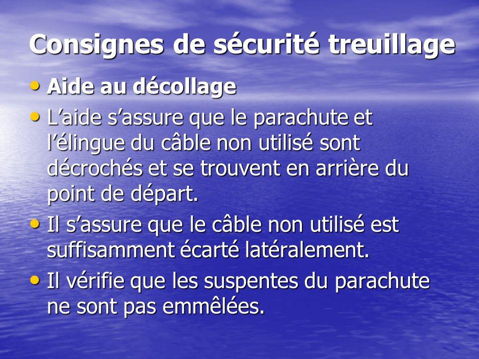Consignes de sécurité treuillage Aide au décollage Aide au décollage Laide sassure que le parachute et lélingue du câble non utilisé sont décrochés et