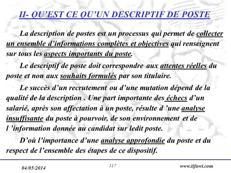 04/05/2014 www.tifawt.com 117 II- QUEST CE QUUN DESCRIPTIF DE POSTE La description de postes est un processus qui permet de collecter un ensemble dinformations complètes et objectives qui renseignent sur tous les aspects importants du poste.