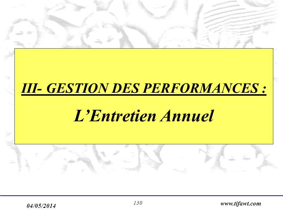 04/05/2014 www.tifawt.com 130 III- GESTION DES PERFORMANCES : LEntretien Annuel