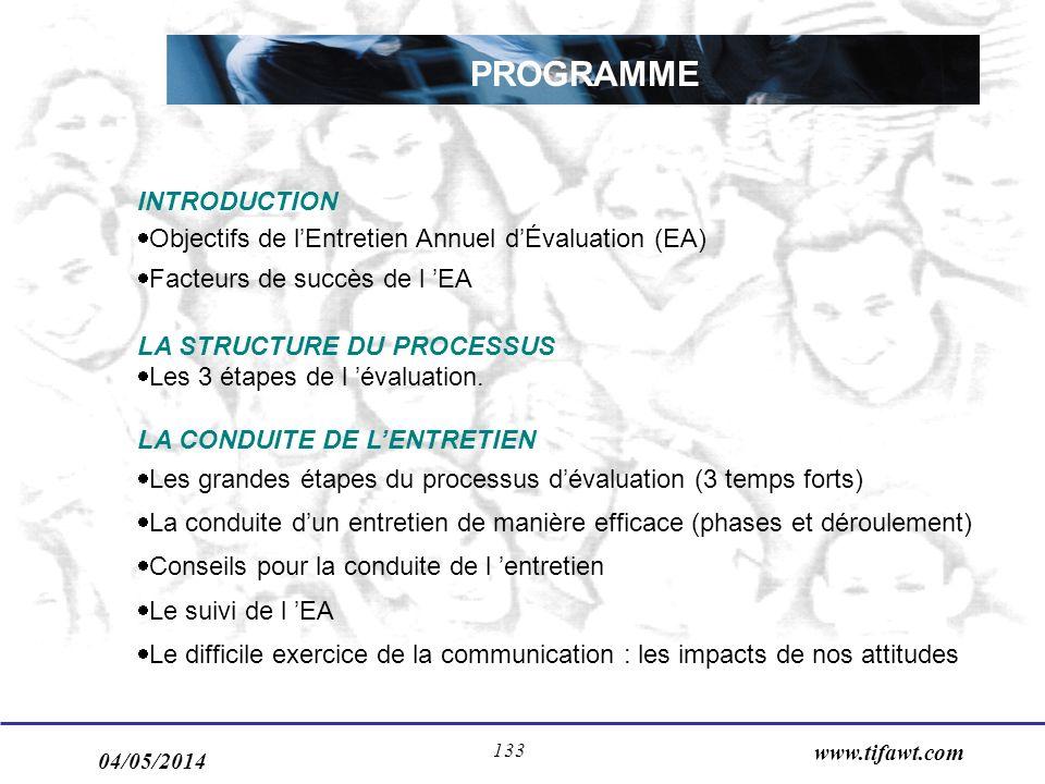 04/05/2014 www.tifawt.com 133 PROGRAMME INTRODUCTION Objectifs de lEntretien Annuel dÉvaluation (EA) Facteurs de succès de l EA LA STRUCTURE DU PROCESSUS Les 3 étapes de l évaluation.
