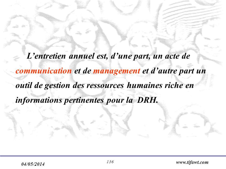 04/05/2014 www.tifawt.com 136 Lentretien annuel est, dune part, un acte de communication et de management et dautre part un outil de gestion des ressources humaines riche en informations pertinentes pour la DRH.